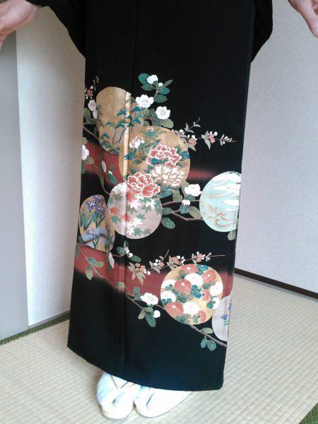黒留袖 T-10 丸に四季花 身丈158㎝ レンタル一式¥38000(税別)浅草店での着付け無料!