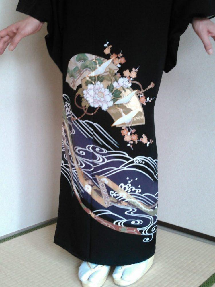 黒留袖 T-07 短冊・扇面・流水 長身の方向き 身丈167㎝ レンタル一式¥38000(税別)浅草店での着付け無料!