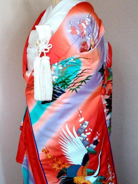 ★A-5 正絹色打掛 朱色地に鶴 藤紫ぼかし 色打掛一式レンタル料金¥85000(税別)