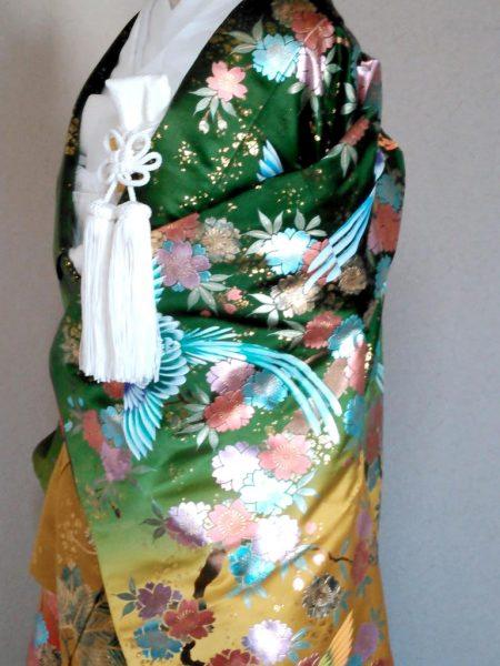 ★A-4 正絹色打掛 赤地に深緑 鳳凰ぼかし模様  色打掛一式レンタル料金¥85000(税別)