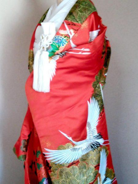 ★A-03 正絹御色打掛 赤地に鶴文様  色打掛一式レンタル¥85000
