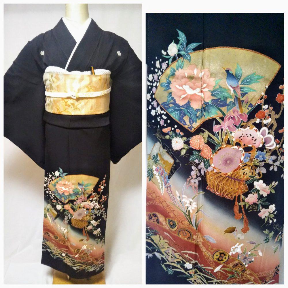 黒留袖 T-13 黒留袖レンタル扇面の組紐紋様 レンタル一式¥38000(税別)浅草店での着付け無料! 身丈156㎝