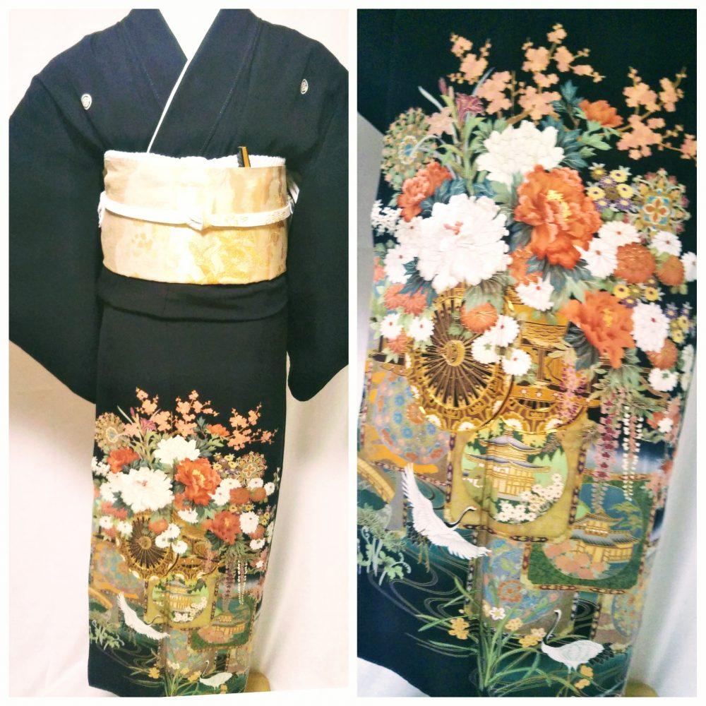 黒留袖 T-14 黒留袖レンタル木瓜文祝二重塔 レンタル一式¥38000(税別)浅草店での着付け無料! 身丈153㎝