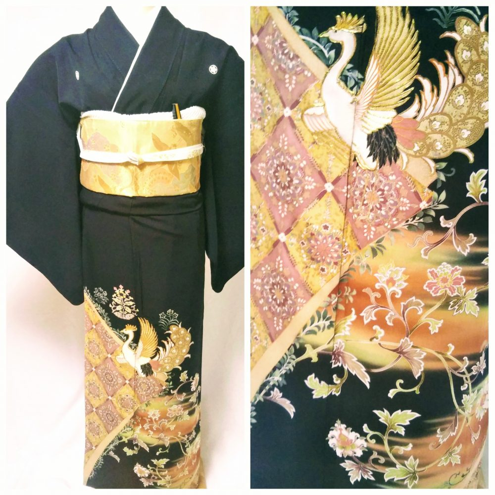 黒留袖 T-17 黒留袖レンタル菱文に黄金鳳凰 レンタル一式¥38000(税別)浅草店での着付け無料! 身丈160㎝