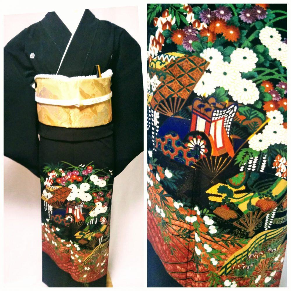 黒留袖 T-18 黒留袖レンタル白菊に御所車 レンタル一式¥38000(税別)浅草店での着付け無料! 身丈158㎝