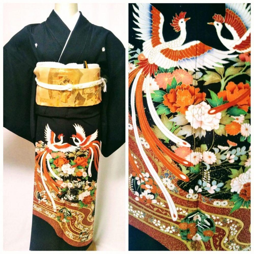 黒留袖 T-21 黒留袖レンタル鳳凰に流水文様 レンタル一式¥38000(税別)浅草店での着付け無料! 身丈155㎝