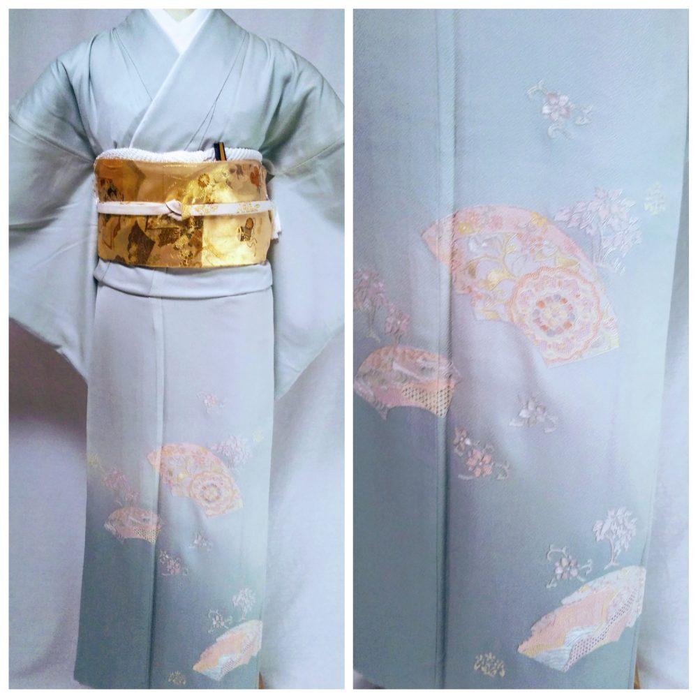 色留袖 T-01 ミントグリーン扇面刺繍 身丈162㎝ レンタル一式¥38000(税別)浅草店での着付け無料!