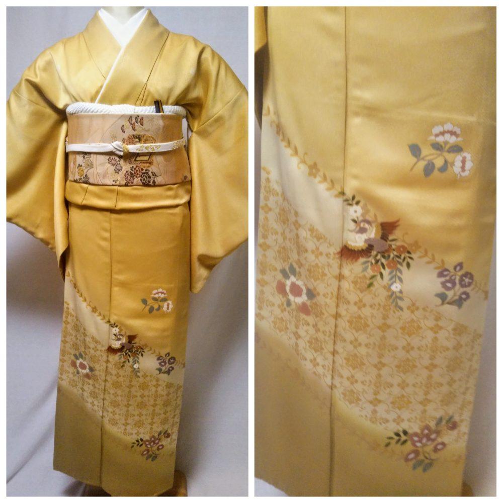 色留袖 T-05 山吹色 鳳凰 身丈160㎝ レンタル一式¥38000(税別)浅草店での着付け無料!