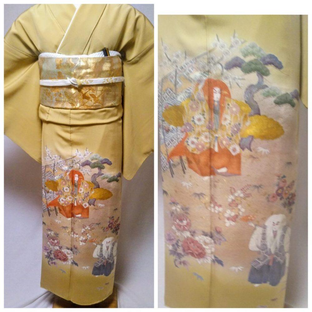 色留袖 T-06 浅黄色 越後獅子 身丈157㎝ レンタル一式¥38000(税別)浅草店での着付け無料!