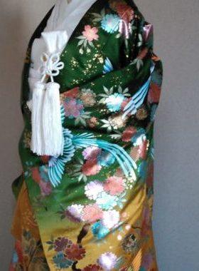 ★A-4 正絹色打掛 赤地に深緑 鳳凰ぼかし模様  色打掛一式レンタル料金¥88000サムネイル