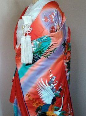 ★A-5 正絹色打掛 朱色地に鶴 藤紫ぼかし 色打掛一式レンタル料金¥88000サムネイル