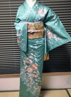 ★正絹訪問着 H-110 レンタル一式¥35000 浅草店での着付け無料! 身丈 161㎝サムネイル