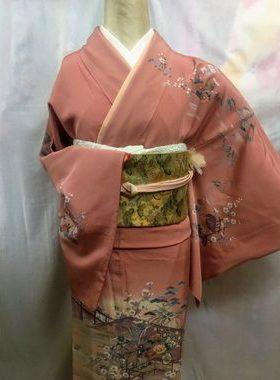 ★正絹訪問着 H-112 レンタル一式¥35000 浅草店での着付け無料! 身丈158㎝サムネイル