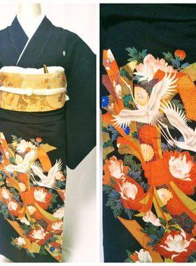 ★黒留袖 T-20 黒留袖レンタル祝鶴の朱熨斗 レンタル一式¥44000 浅草店での着付け無料! 身丈152㎝サムネイル
