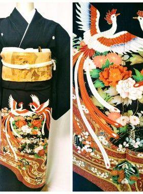 ★黒留袖 T-21 黒留袖レンタル鳳凰に流水文様 レンタル一式¥44000 浅草店での着付け無料! 身丈155㎝サムネイル
